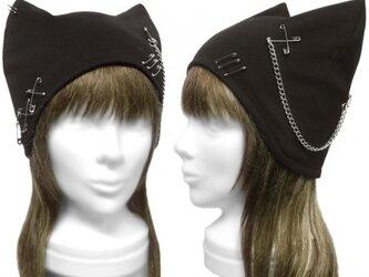 パンク[チェーン&ピンクロス]  ネコ耳帽子◆コットンニット/ブラックの画像
