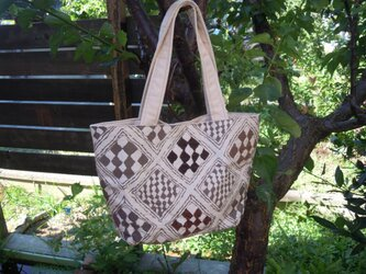 西陣織り トートバッグ(パッチワーク風)の画像