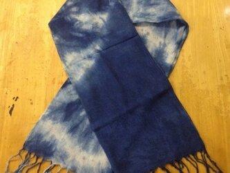 天然藍染コットンストール 002(大きな花柄)の画像