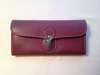 差し込み金具の長財布*チョコの画像