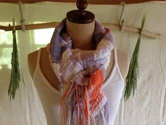 手織のコットンストール オレンジの画像