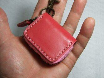 ピンクのミニファスナーコインケース の画像