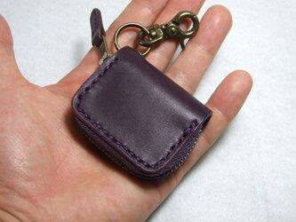 紫のミニファスナーコインケース の画像