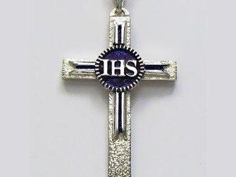イエス・聖母マリア・教義・聖霊・使徒などを表した作品 イエスのモノグラムのクロス(B) ac92 好評ですの画像