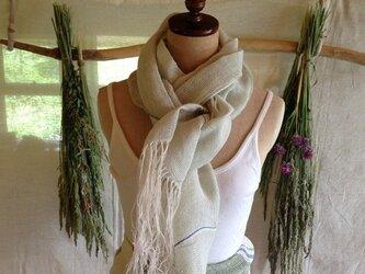 手織りリネンストール ミントグリーンの画像