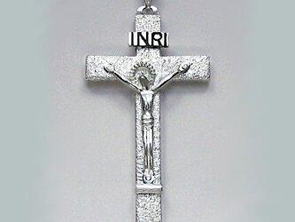 受難像(イエス・キリストの十字架像) 罪状書と足台の付いた大きな受難像 pc33 好評ですの画像