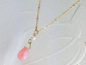 ピンクオパールとパールのネックレスの画像