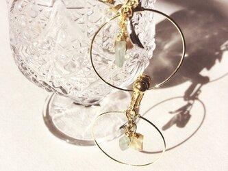 ヴィンテージグラスビーズとシェルのイヤリングの画像