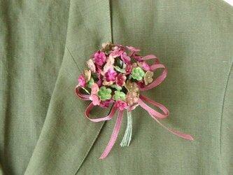 わすれな草 ピンクMIX * ビロード製 * コサージュの画像