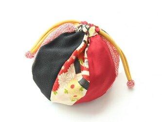 まり巾着 赤絞りの画像