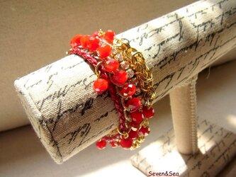 キラキラガラスの4連ブレスレット(深紅)の画像