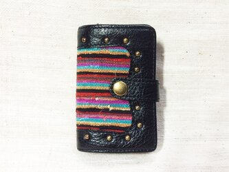姫路レザーと正絹裂織のコインケース付きキーケース NO,2の画像
