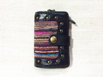姫路レザーと正絹裂織のコインケース付きキーケース NO,3の画像