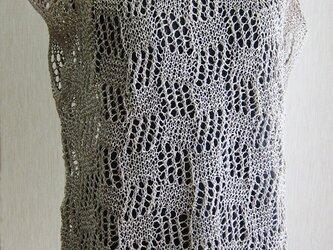 透かし模様のリネンプルオーバー(ベージュ)の画像
