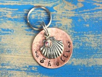迷子札MD321 銅 直径2.5cm 貝がらのチャーム付の画像