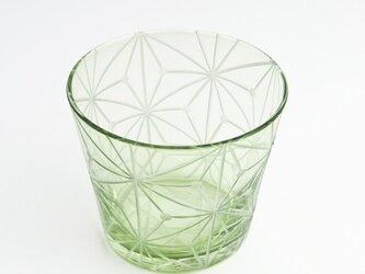 東京切子(花切子)グラス 千代紙 グリーンの画像