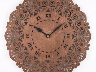木の壁掛け時計C 唐草(木製ウォールクロック)の画像