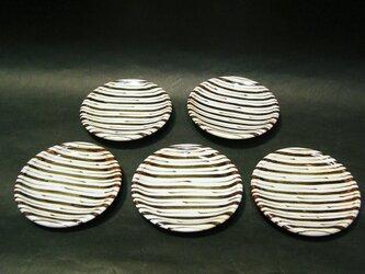 絵粉引銘々皿5枚組(ストライプ)の画像