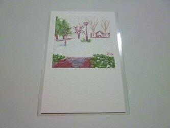 雪積もる2月の公園(ポストカード)の画像