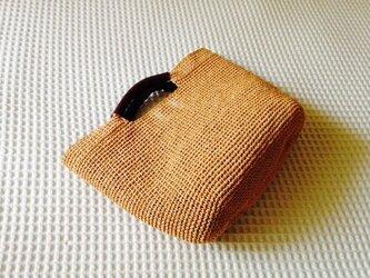麦わら素材のナチュラルバッグ(オレンジソルベ)の画像