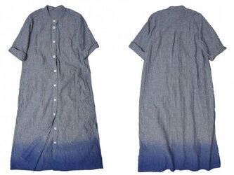 手染めシャツワンピ/ストライプ×ブルーの画像