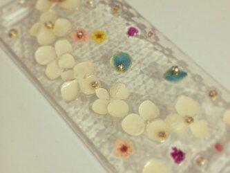 S様オーダー♪白い紫陽花でシンプルIPHONE5 5sケースの画像
