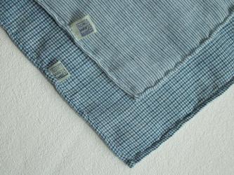 indigo 手紡ぎ手織りハンカチ 2枚セット Mの画像