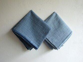 indigo 手紡ぎ手織り ハンカチ2枚セット Lの画像
