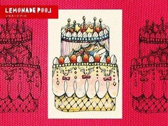 お祝いスワンケーキポストカード★5枚セットの画像