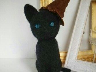 50%off!羊毛♪黒猫♪魔女帽子の画像