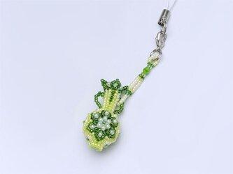 花模様のボトルのストラップ・グリーンの画像