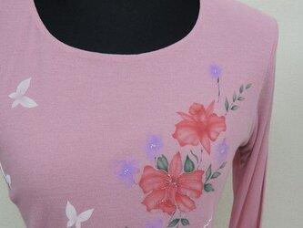 西陣手描き七分袖Tシャツ◇ピンクの画像