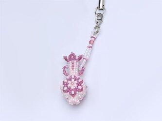 花模様のボトルのストラップ・ピンクの画像