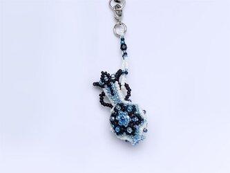 花模様のつぼの携帯ストラップ・ブラックの画像