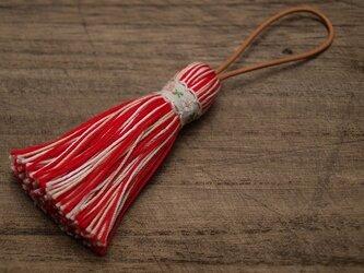 【再販】✤北欧タッセル✤ 【ベビーチロリアン】小花柄 バッグチャーム キーホルダー オーナメント レッドの画像