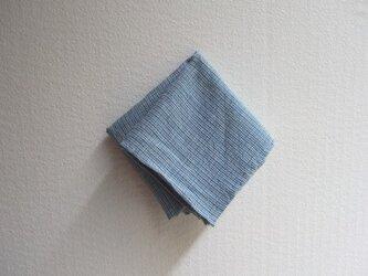 indigo 手紡ぎ手織り ハンカチ Mの画像