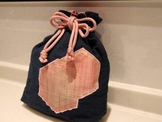 古布と紬 巾着の画像