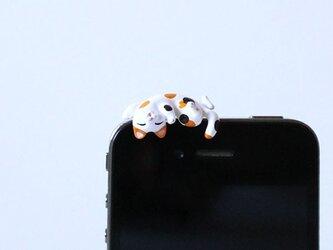 あおむけグニャリ猫イヤホンジャック 【ミケ】の画像