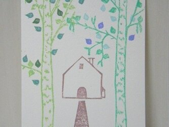 葉書〈木々の向こうに 白樺-2〉の画像