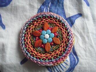 刺繍髪飾り(丸花)の画像