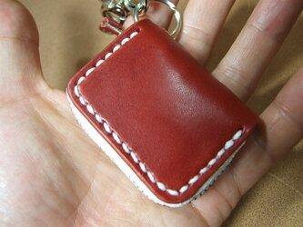 ミニファスナーコインケース 赤に白ステッチの画像