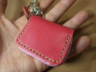 ミニファスナーコインケース ピンクにベージュステッチの画像