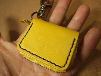 ミニファスナーコインケース 黄色に焦げ茶ステッチの画像