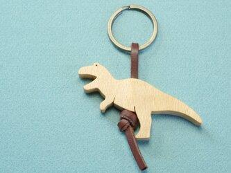 ティラノサウルス / 恐竜 木のキーリングの画像