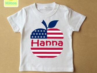(size70~120)名前入りTシャツ【国旗リンゴ】】の画像