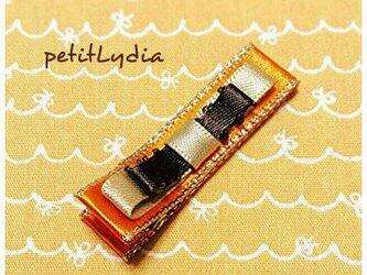 ベビー&キッズヘアピン 大人なリボン Gold colorの画像