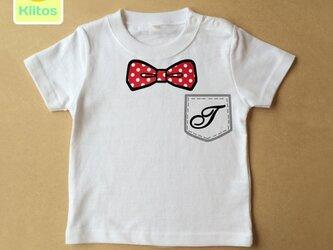 (size70~120)イニシャル入りTシャツ【蝶ネクタイ】の画像
