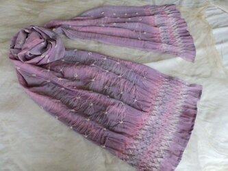 sale 縫い絞り染シルクストールの画像