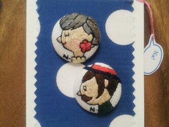 紳士と淑女(クルミ釦2個セット)の画像