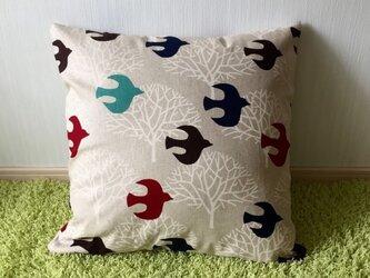 北欧birdクッションカバー*赤系*の画像